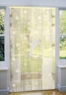 Mesh Strip Door Fly Curtain - Cream Flowers 100 x 220